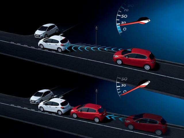 Peugeot 208 Active City Break: Freinage Automatique Urbain sur Risque de Collision à moins de 30 km/h